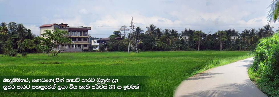 Available for immediate sale 33 Perches of Land Balummahara Godagedara, facing carpeted road and easy access to Kandy Road.