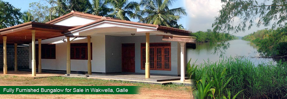 Fully Furnished Bungalow for Sale in Wakwella Galle, built on 126 Perches in top residential area in a coconut land beautiful environment with River view. The property located 5 km away from Galle town and 5 minutes to all the leading schools. And it's a friendly residential area with doctors in the neighborhood. The property is selling due to owner's immigrate to London.