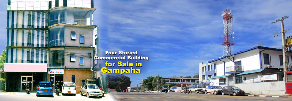 Four Storied Commercial Building with 3,600 Sq.Ft floor area (Each floor 900 Sq.Ft) in Gampaha City Center for sale with sparate entrances for each floor. The ideal location for an office space, or any other commercial purpose. Situated adjacent to Sanasa Shopping Complex and close to SLT Regional Office, Post Office, Gampaha Courts Complex and other commercial entities.