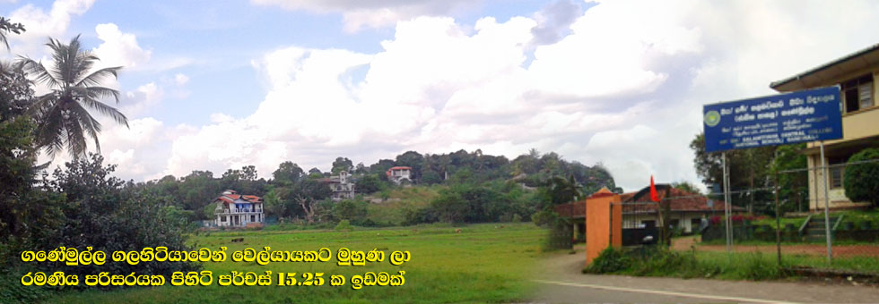 15.25 Perches Land for Sale at Galahitiyawa, Ganemulla, facing nice Paddy Field walking distance to Galahitiyawa Central College, Galahitiyawa Hemamali Vidyalaya and Bulugahagoda Railway Station.