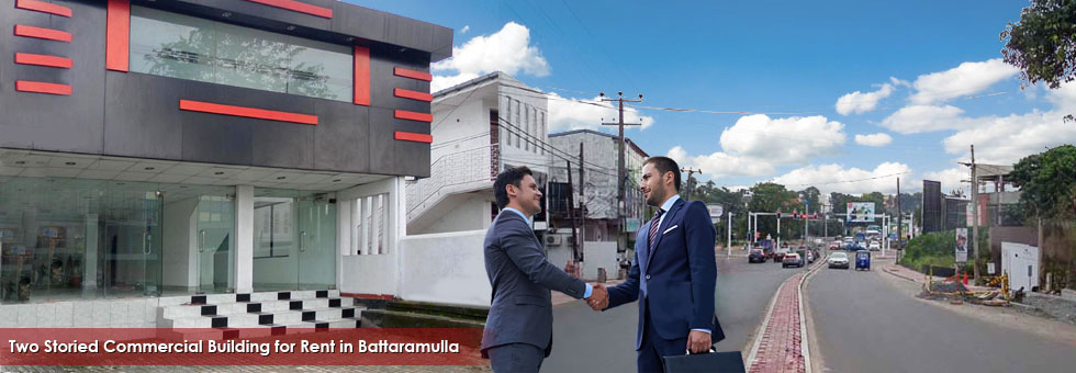 Commercial Building for Rent in Battaramulla facing Pannipitiya main road. Property located in a highly commercial area in Colombo District. Ideal for a Bank. Financial Institution or any kind of commercial purpose.