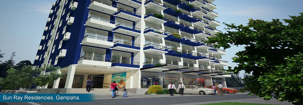 """Over 50 Apartments """"Sun Ray Residencies"""" and 3 Commercial  Units for Sale situated at Yakkala road, Bandarawatte, Gampaha, within Gampaha city limit. Only 1 Km to Kandy road and less than 2 Km to Gampaha with modern and common amenities."""