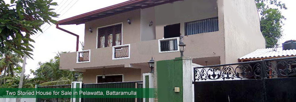 Solidly Built Two Storied House for Sale in Pothuharawa Road, Pelawatta. Easy access from both Battaramulla & Malabe sides. Built on 7.5 Perches Land with right round Parapet wall and approx 1,800 Sq.Ft floor area.
