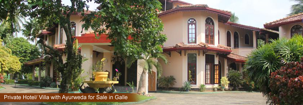 Villa with Ayurweda for Sale in Ahungalla, Galle. Build 2001/ 2002. two minutes walk from the beach. Consist 12 Standard rooms and 3 Suites (all with Balcony or Patio, Air Condition, Ceiling Fan, Wi-Fi)