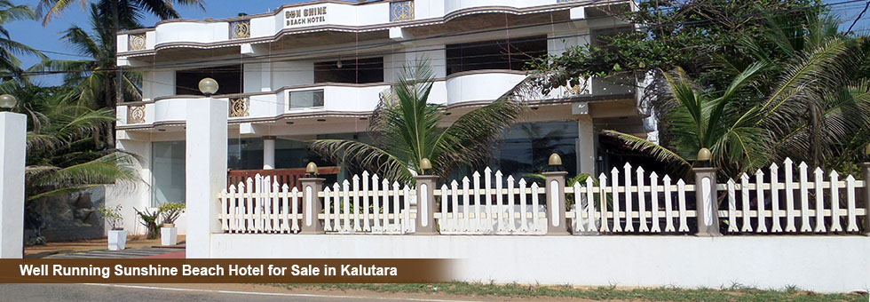 Ceylon Tourist Board Approved Sunshine Beach Hotel for Sale in Abrew Road, Kalutara North, Tourist area. Close to kalutara Temple, Tangerine beach and calido beach.