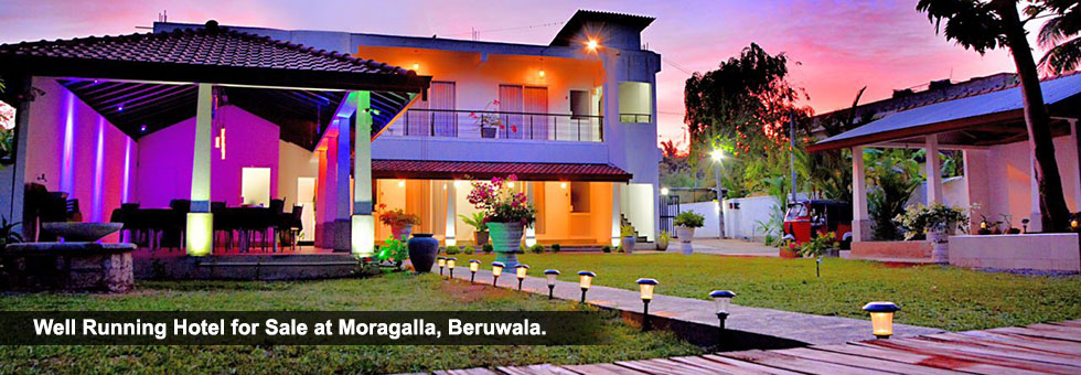 "Well Functioning "" Water Villa "" Hotel for Sale at Moragalla, Beruwala, Tourist area, 30 meters away from Galle Road. This property situated fully secured place bordering to water stream."